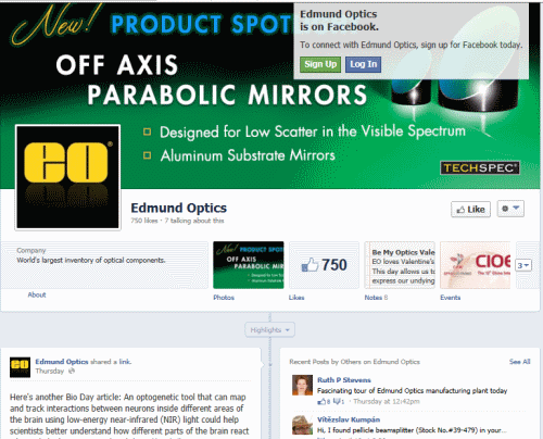 דף הפייסבוק של Edmund Optics