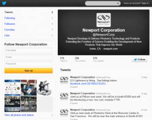 ערוץ הטוויטר של Newport