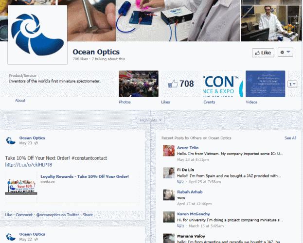 דף הפייסבוק של Ocean Optics