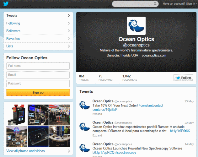 ערוץ הטוויטר של Ocean Optics