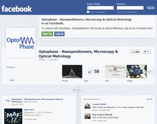 דף הפייסבוק של Optophase