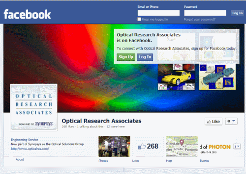 דף הפייסבוק של חברת Optical Research Associates