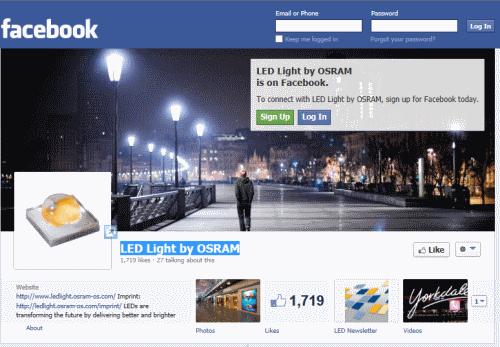 דף הפייסבוק של LED Light by OSRAM
