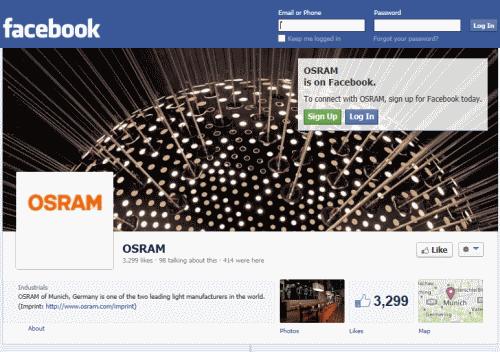 דף הפייסבוק של OSRAM