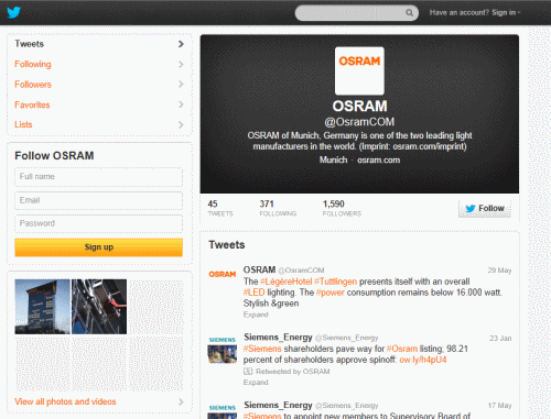 ערוץ ה - twitter של OSRAM