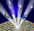 בתרשים: הדגמה סכמתית של אלומות אור שונות, בעלות תנע-זוויתי, הבוקעות ממערכי ננו-אנטנות.