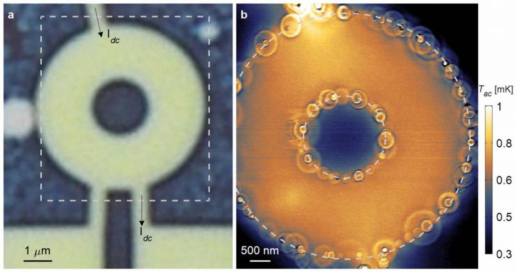 מדידה של מעבר חום בדוגמה נקיה של גרפן. שמאל: תמונה אופטית של דוגמת הגרפן. ימין: ההדמיה התרמית חושפת שרשרת של טבעות המהווה תחימה של תהליך ייחודי של מעבר חום המתרחש בדוגמה